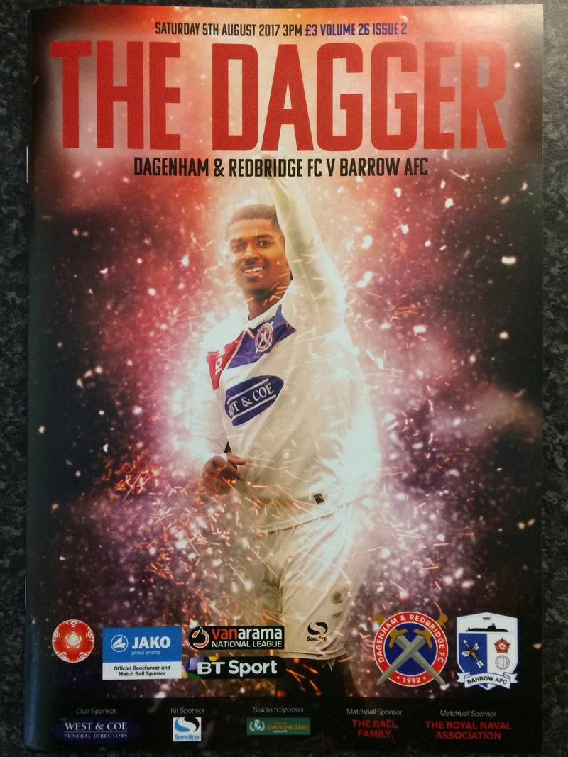 Daggers vs Barrow First League Programme